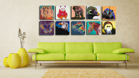 Set Of 10 Andy Warhol - Endangered Species - Unframed Digital Art Print (12x12)
