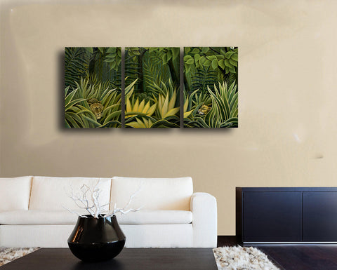 Two Lions In The Prowl by Henri Rousseau - Gallery Wrapped Panels (20 x 10) x 3