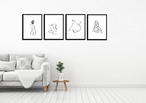 Set of 4 Minimalist Nudes - Framed Digital Art Prints - Medium (14 x 18) inches each by Jamini Roy