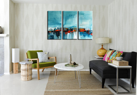 On The Waterfront - Modern Abstract Painting - Set Of 4 Panels (36 x 54 inches) Final Size