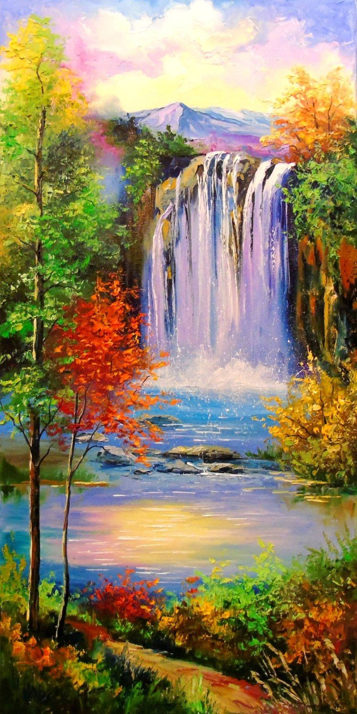mountain waterfall painting canvas prints by janet simmons buy
