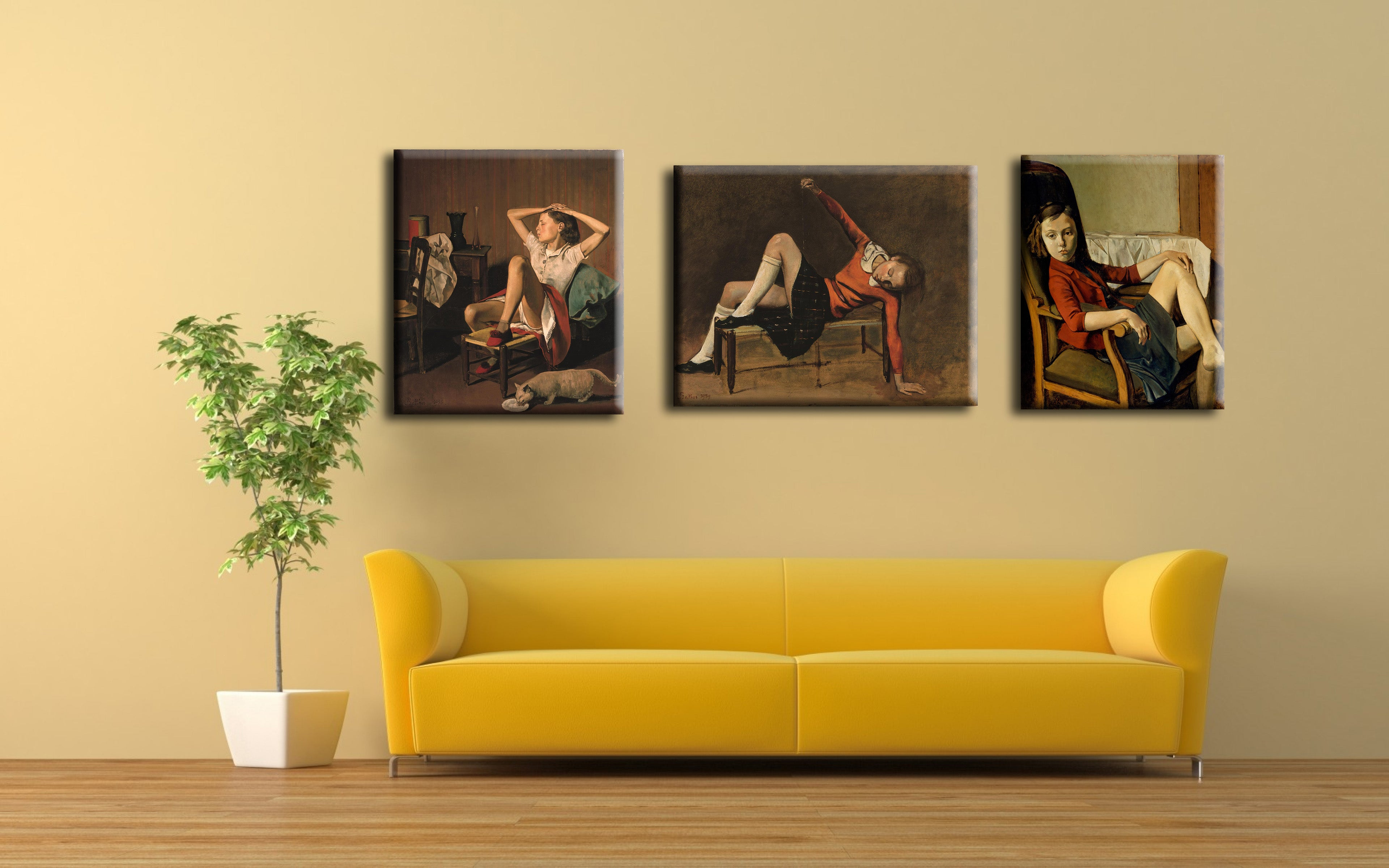 Set Of 3 Therese Paintings by Balthus- Therese on a Bench Seat ...