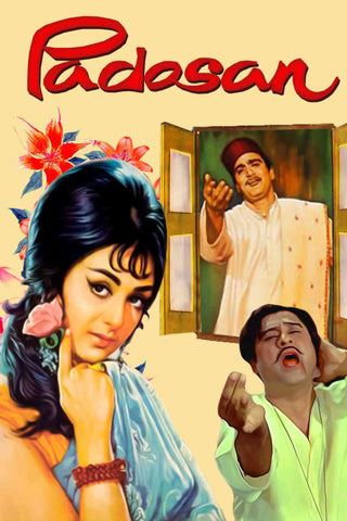 Padosan - Classic Bollywood Hindi Movie Vintage Poster by Tallenge Store