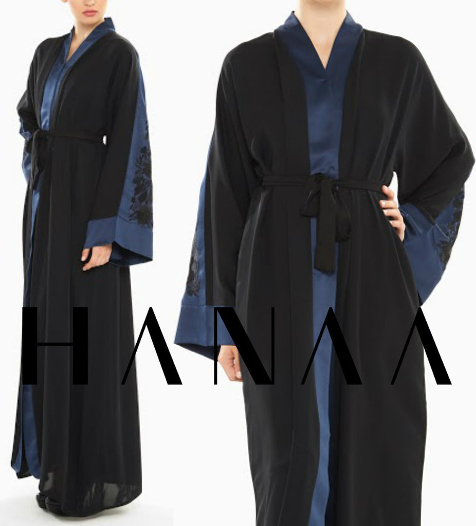 RUBY Silk Embroidery Open Abaya