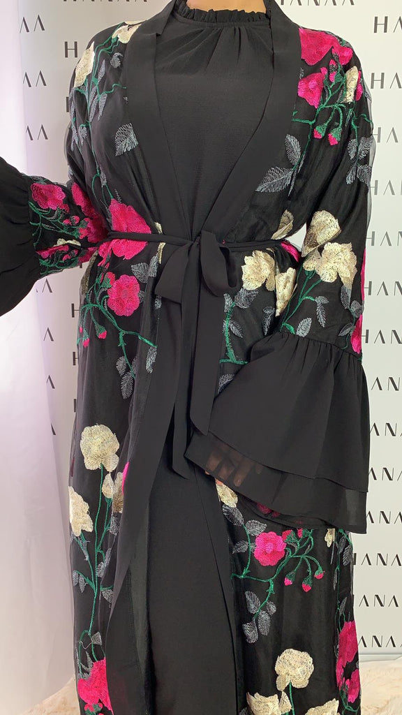 Ailah Floral Embroidery Open Abaya - Black - RTD