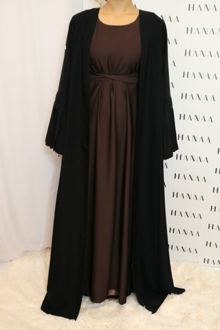 The Flare Sleeve Open Abaya - Grey