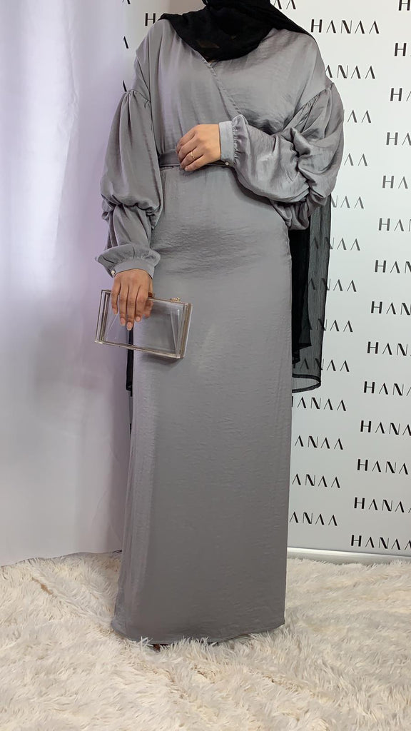 Nina Wrap Dress - Grey - RTD