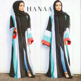 Palestine Strip Silk Open Abaya