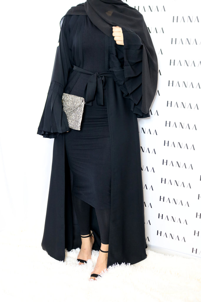 The Flare Sleeve Open Abaya - Black