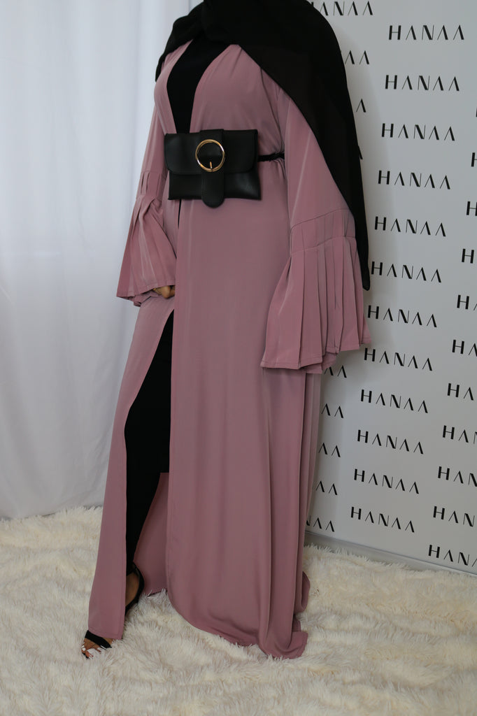 The Flare Sleeve Open Abaya - Vintage Pink