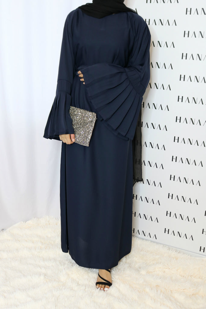 The Flare Sleeve Closed Abaya - Navy