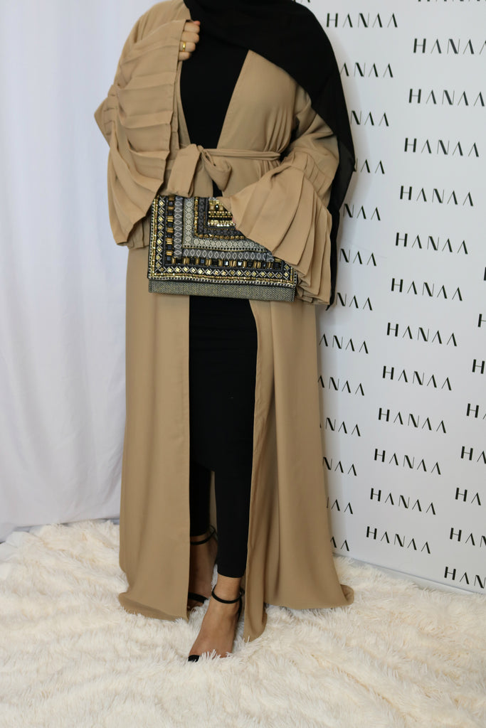 The Flare Sleeve Open Abaya - Nude - RTD