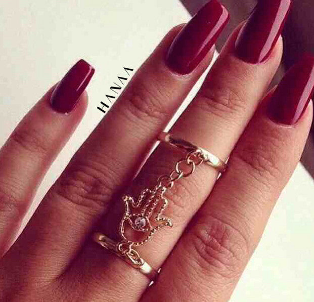 Khamsa Double Chain Ring