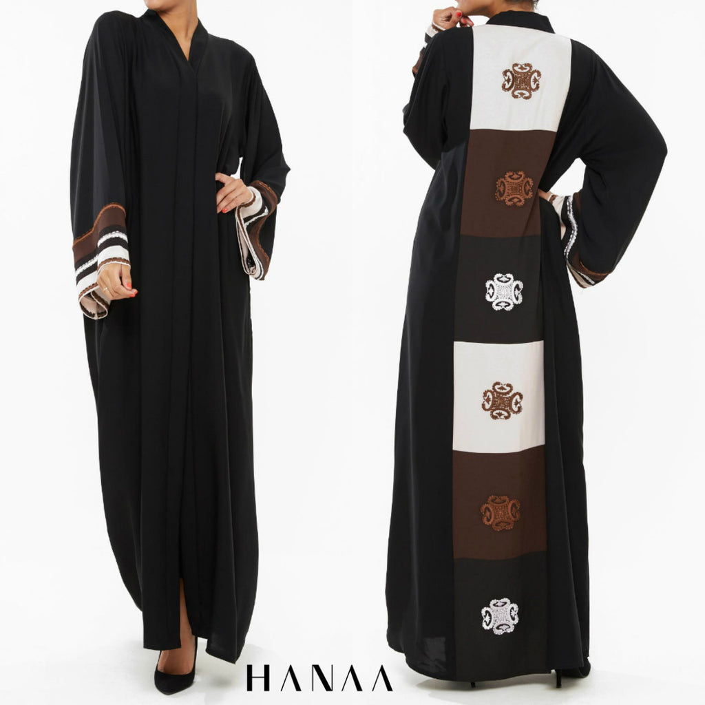 Moroccan Back Embroidered Open Abaya