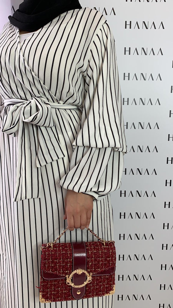 Nayla Stripe Wrap Dress - White - RTD