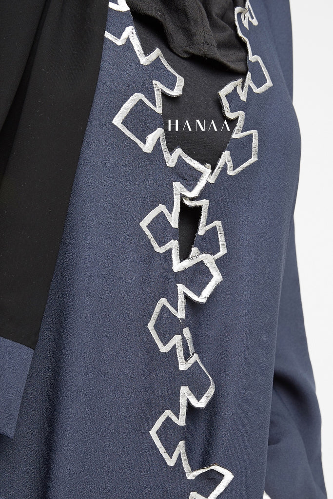 Inayah Embroidery Wrap Abaya - Navy