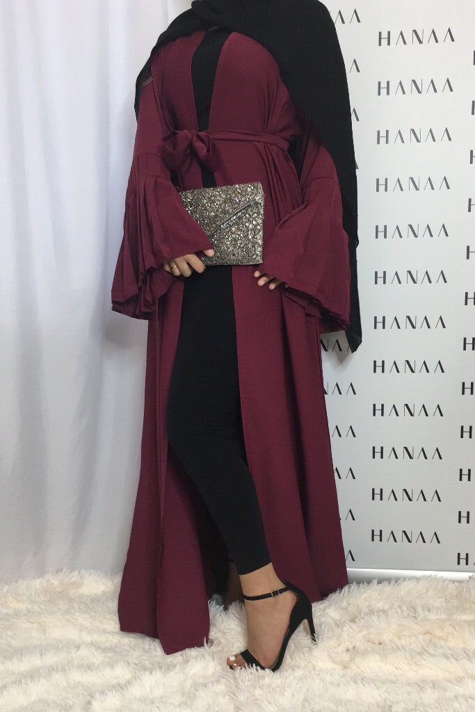 The Flare Sleeve Open Abaya - Burgundy - RTD