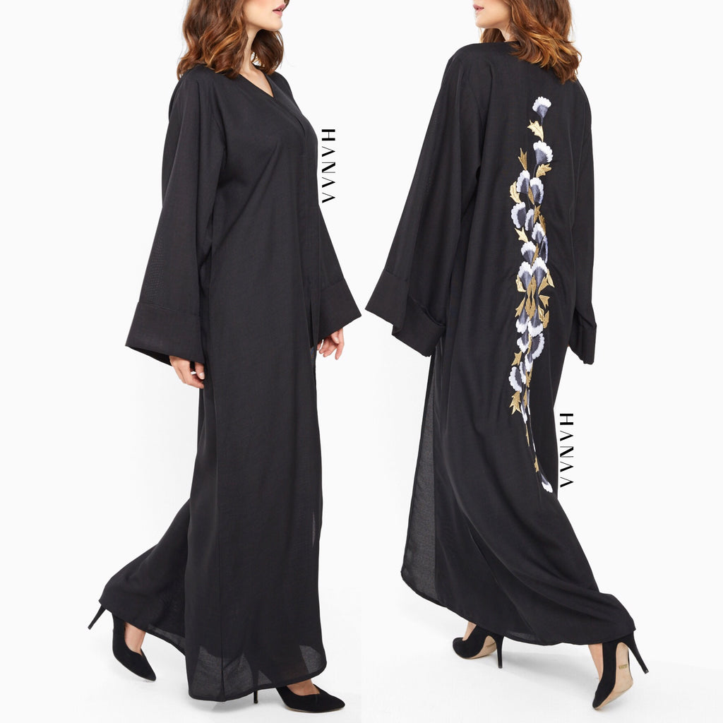 Samah Embroidered Open Abaya