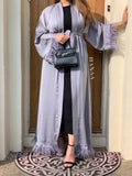 Bella Open Abaya - Grey - RTD