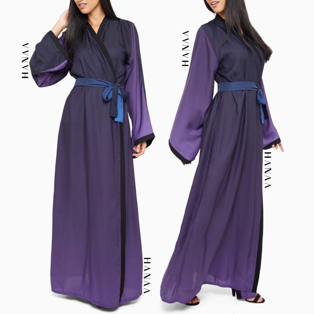 Ombre Silk Open Wrap Abaya - Purple