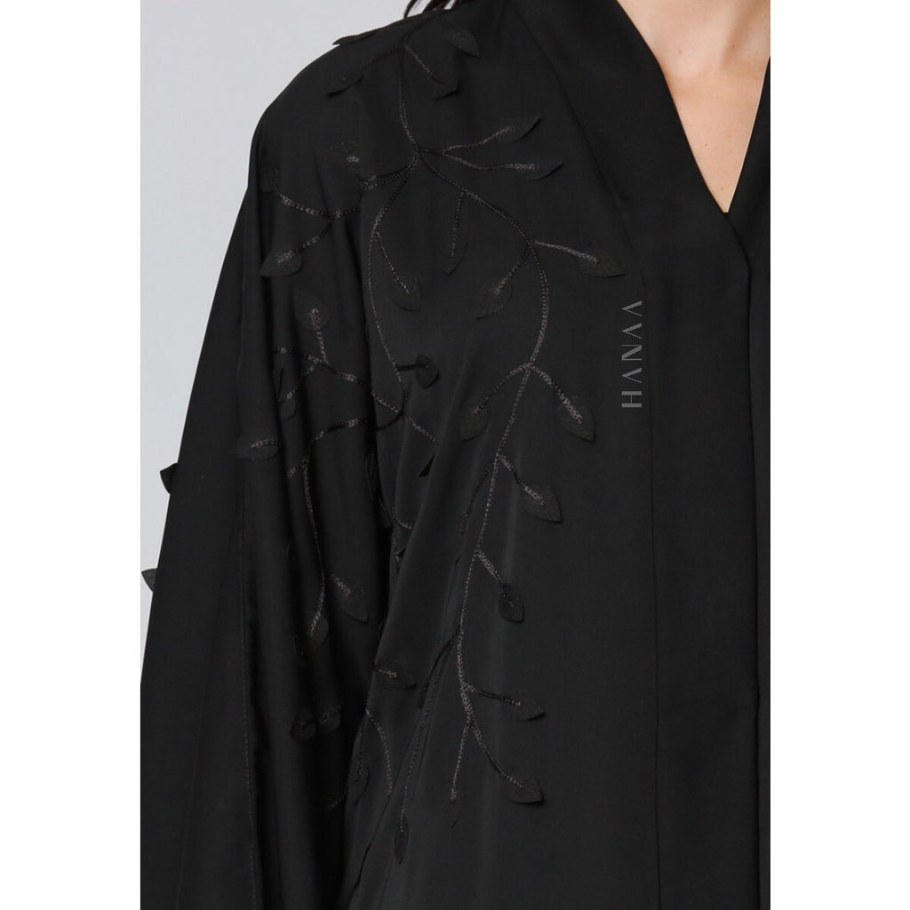 Black Leaf Open Abaya