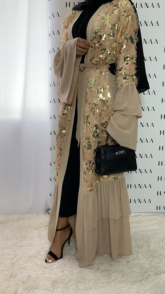 Amirah Sequinned Open Abaya - Gold