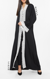 Rafia Lace Trim Open Abaya