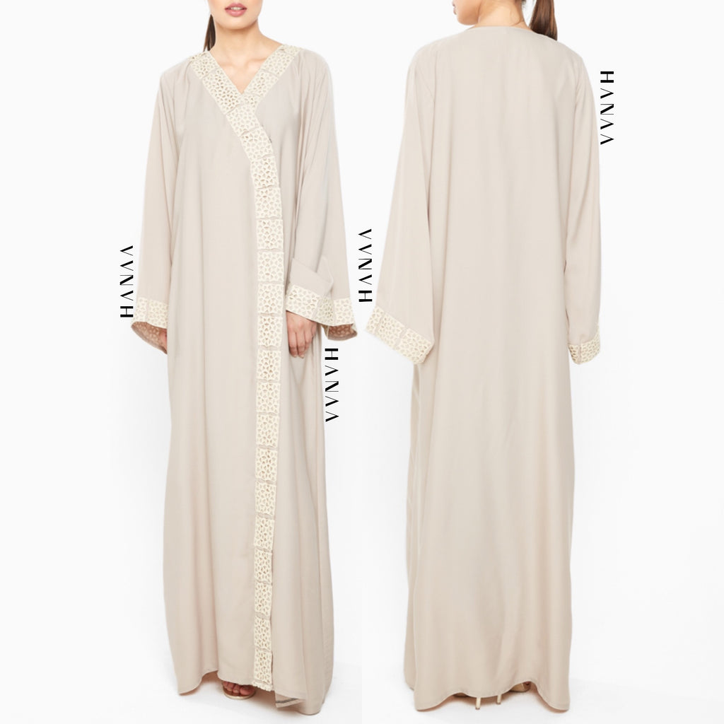 Hind Embroidered Open Abaya - Beige
