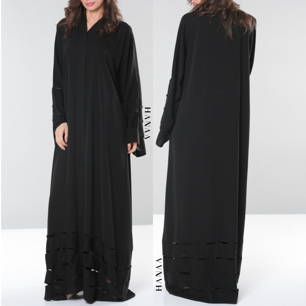 Sienna Pleated Hem Open Abaya