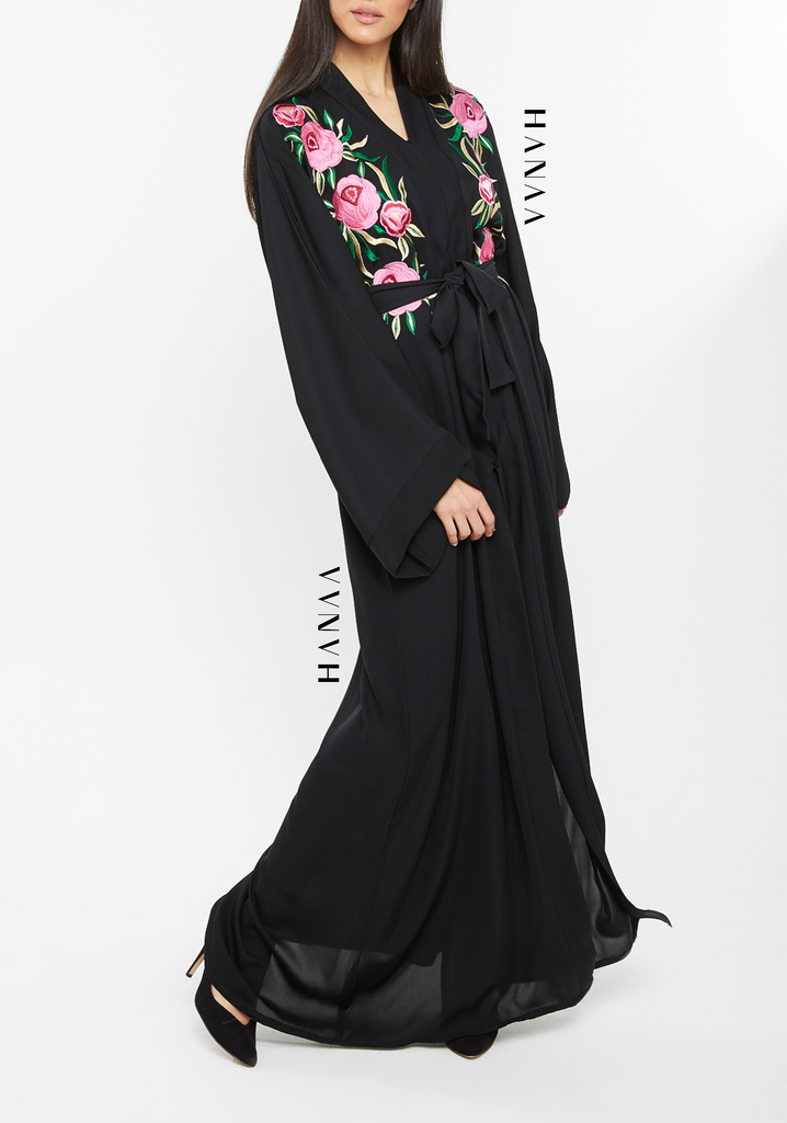 Rosé Embroidered Open Abaya