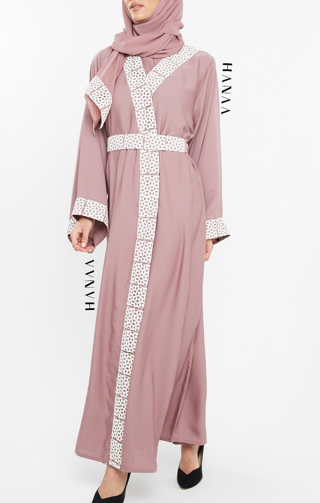 Hind Embroidered Open Abaya - Mauve
