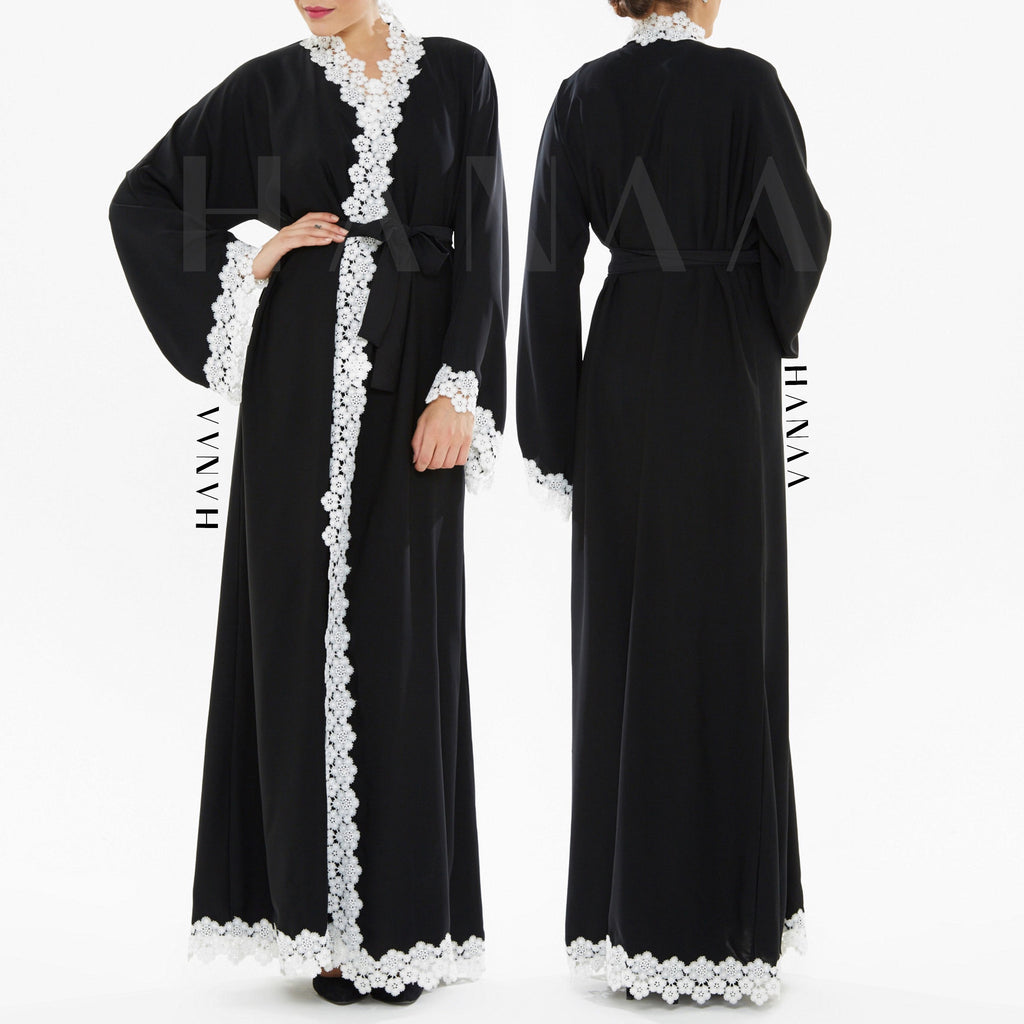 Miah Embroidery Wrap Abaya - Black Floral