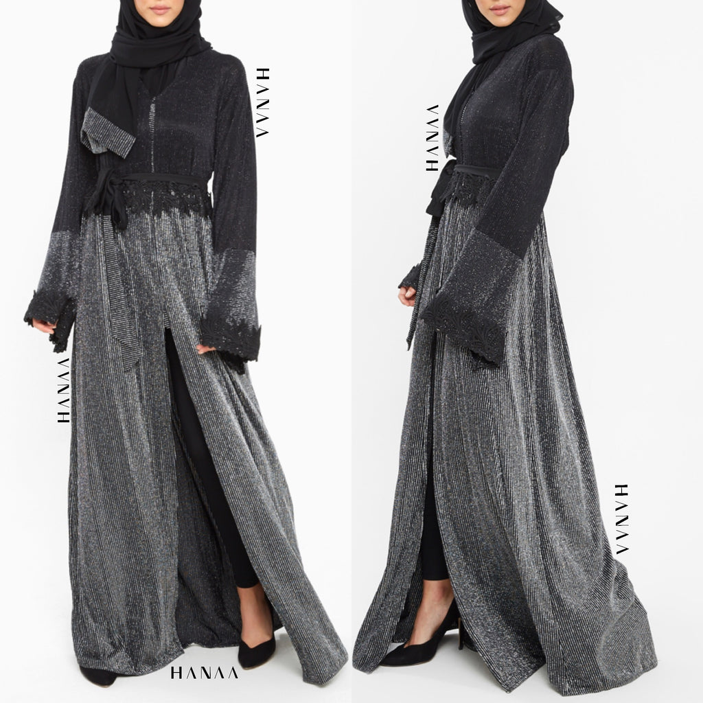 Onyx Shimmer Two Tone Jacket Open Wrap Abaya