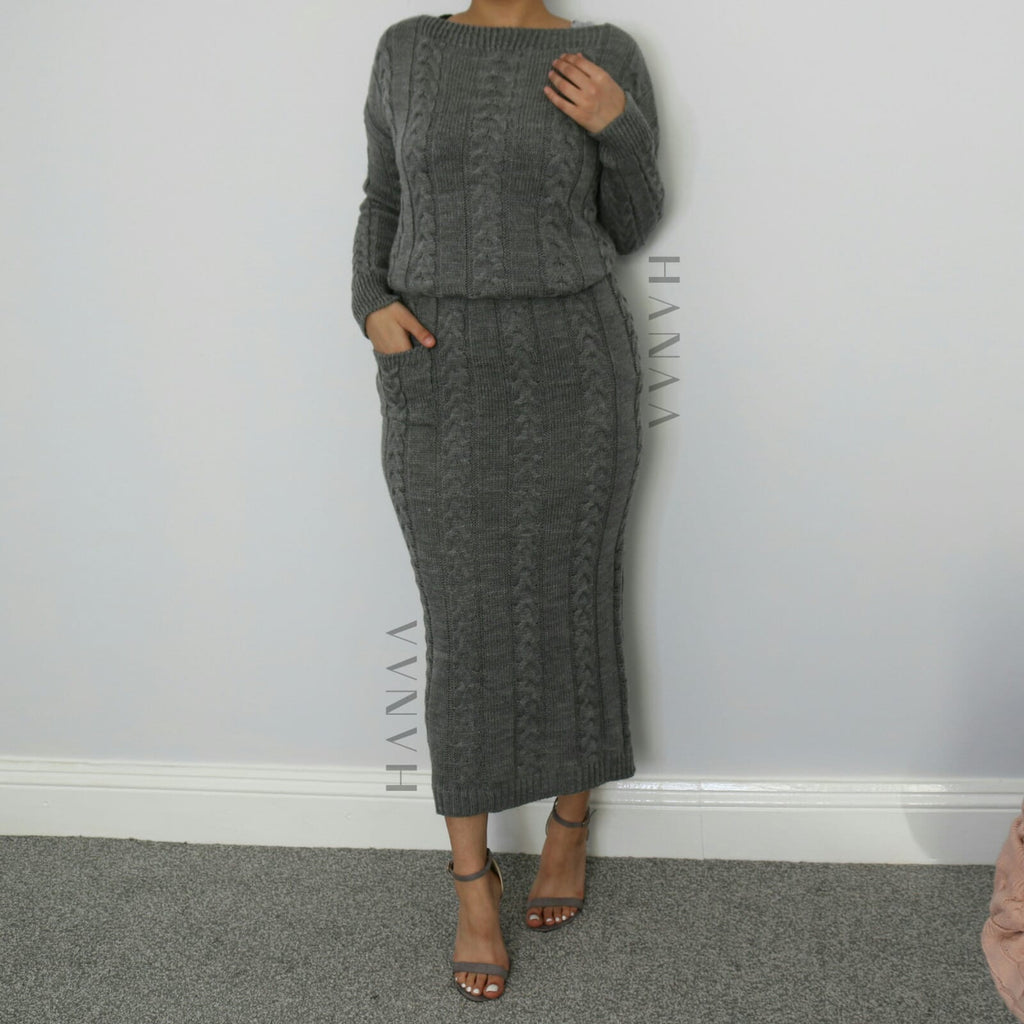 CHUNKY KNIT CO ORD SET - Dark Grey