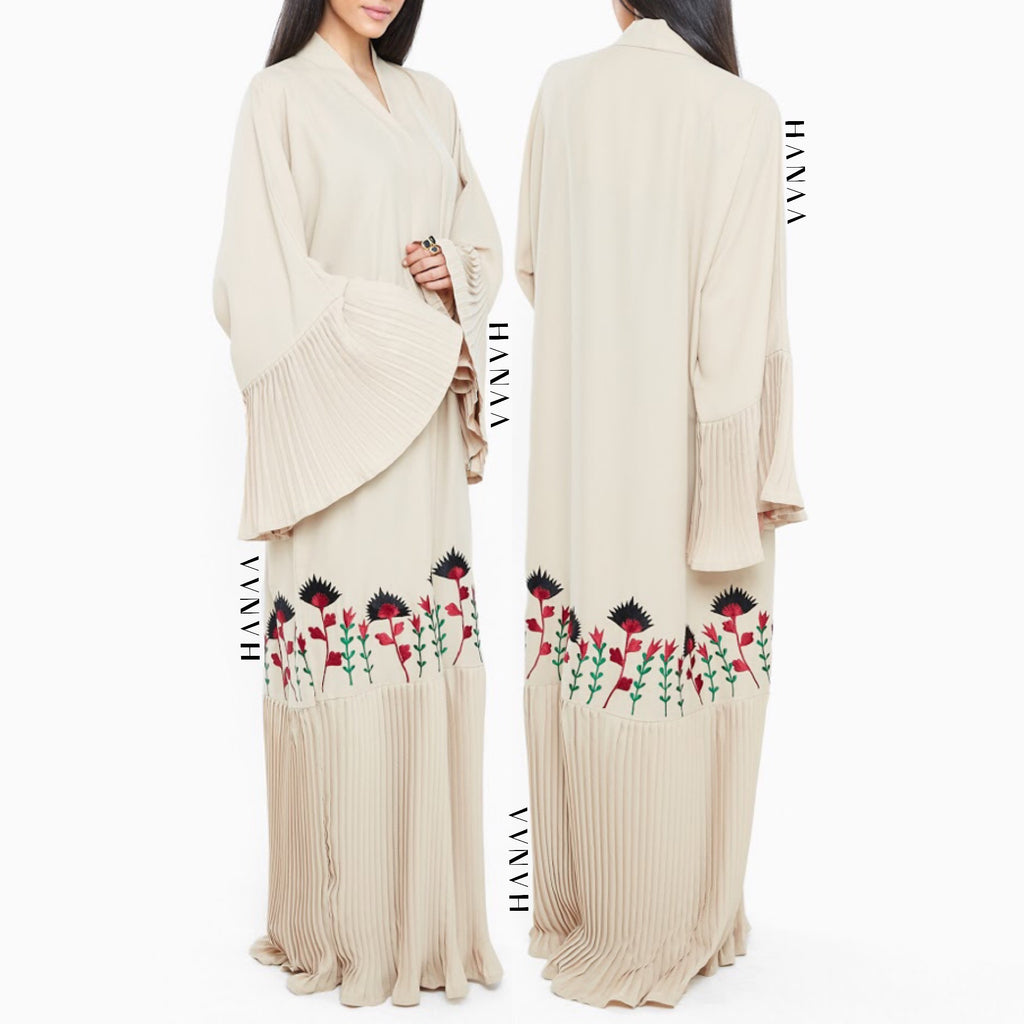 Lima Pleated Embroidered Open Abaya