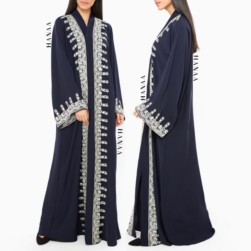 Hajrah Embroidered Open Abaya