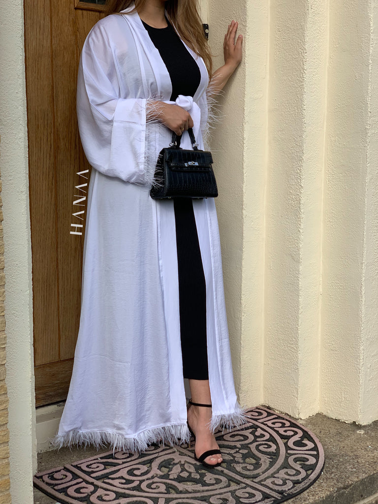 Bella Open Abaya - White