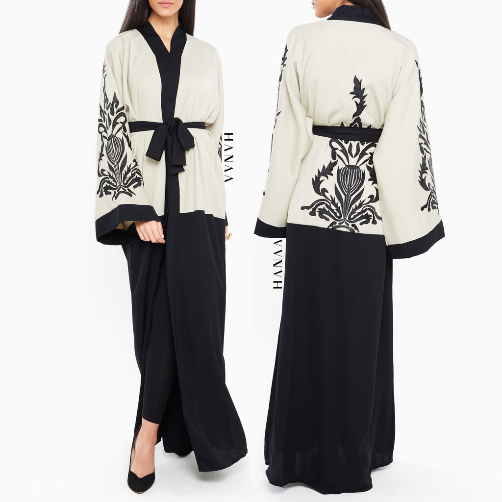 Sabiha Embroidered Open Abaya