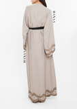 Halima Embroidered Wrap Open Abaya - Beige