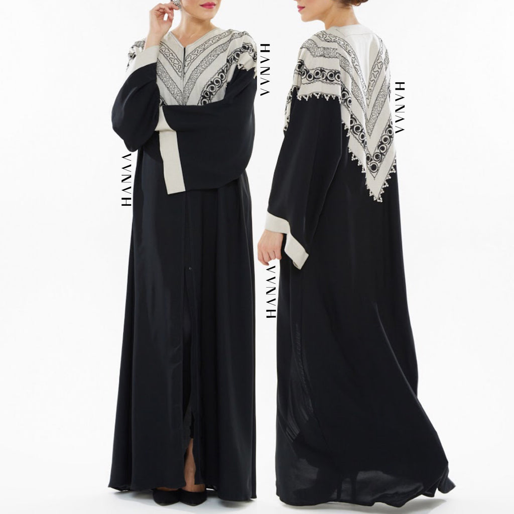 Aminah Embroidered Open Abaya