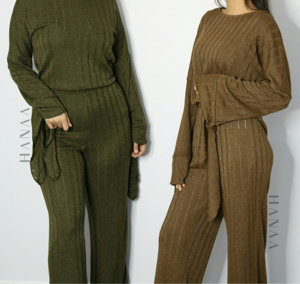 SHIMMER CO ORD SET - Khaki