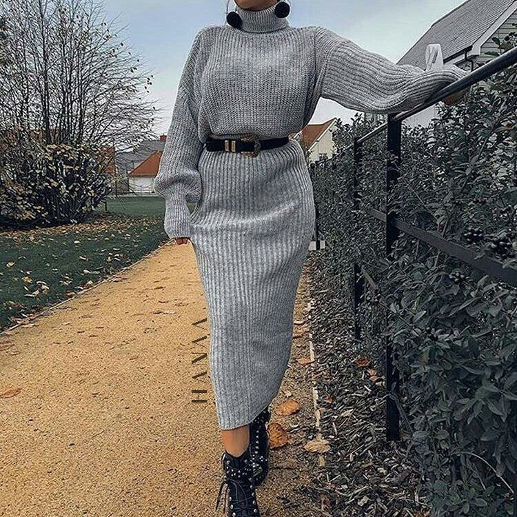 ROLL NECK RIBBED CO ORD SET - Grey - RTD