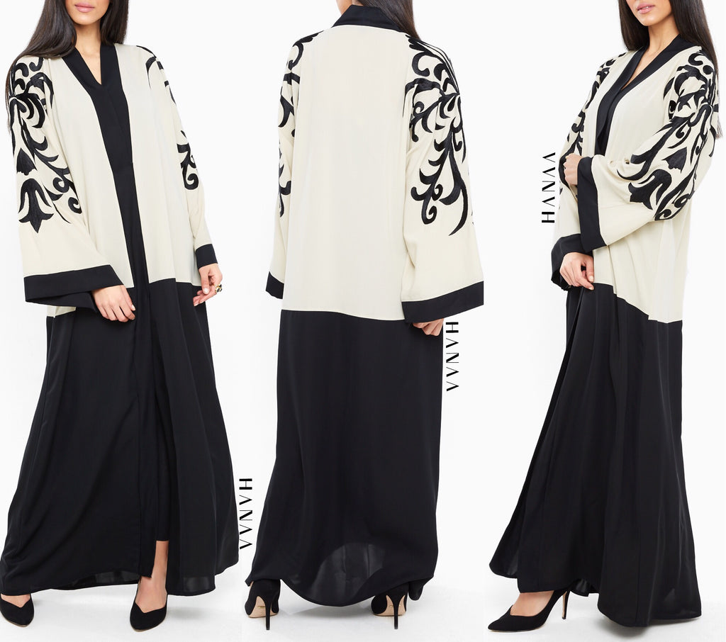 Fatimah Embroidered Open Abaya