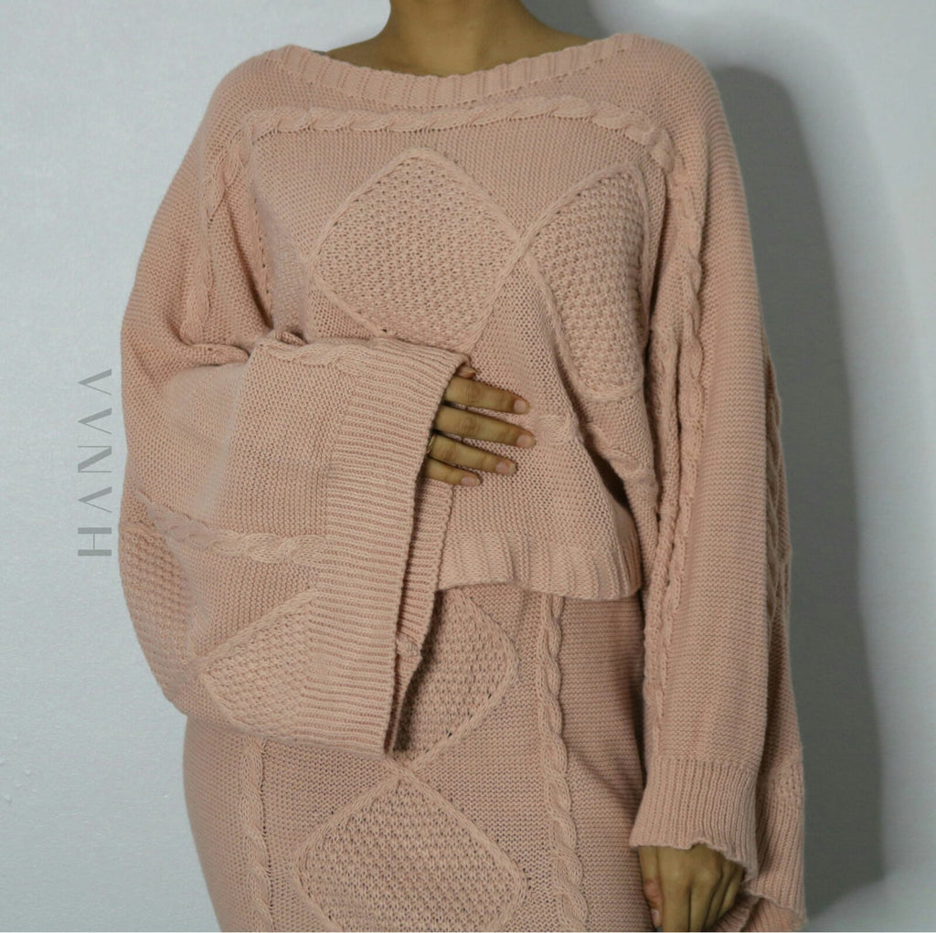 FLARED SLEEVE KNIT CO ORD SET - Blush Pink