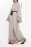 Halima Embroidered Wrap Open Abaya - Beige - RTD