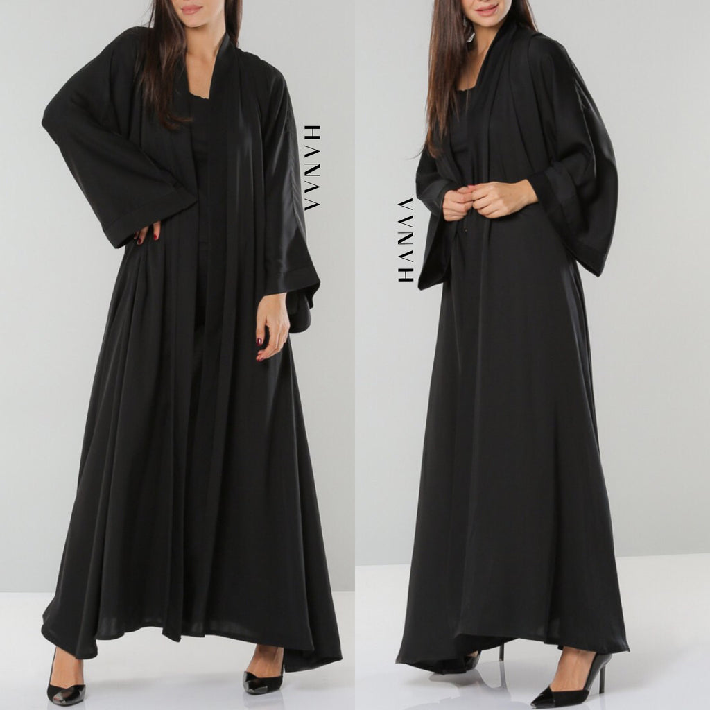 Plain Black Open Abaya