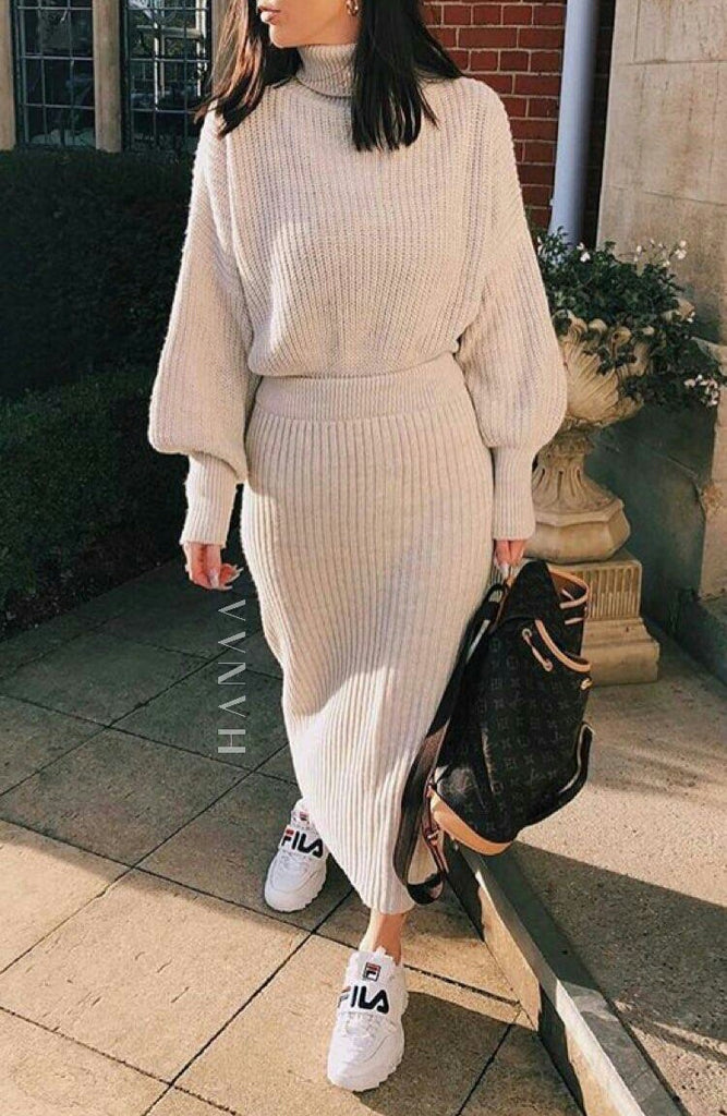 ROLL NECK RIBBED CO ORD SET - Beige