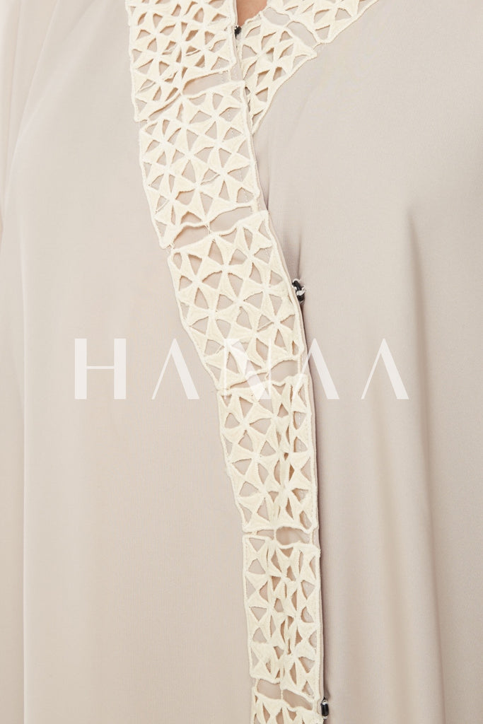 Hind Embroidered Open Abaya - Beige - RTD