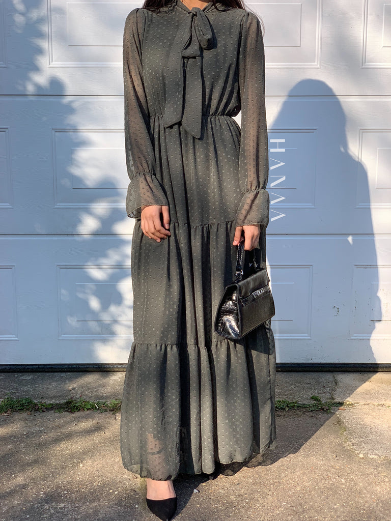 Tahirah Maxi Dress - Khaki - RTD