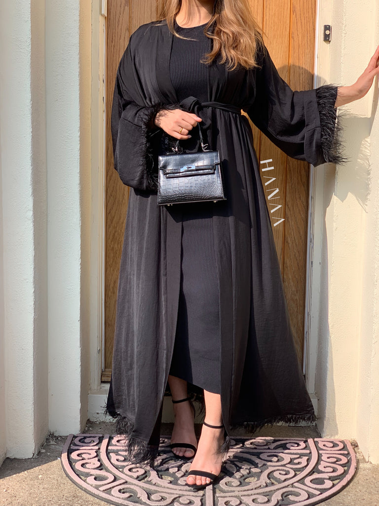 Bella Open Abaya - Black - RTD